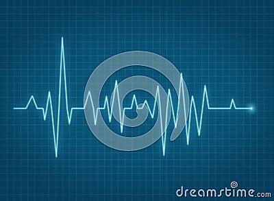 ECG pulse heartbeat blue line