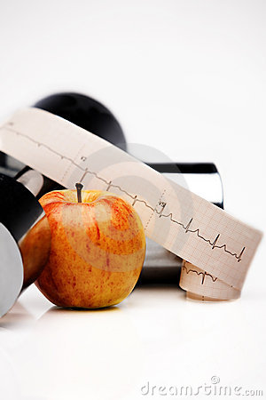 ECG tracing, apple, dumbbell