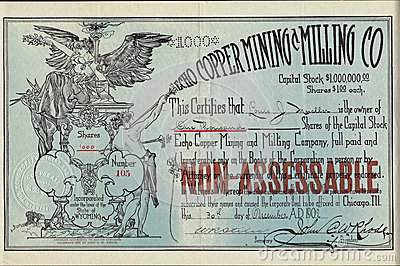1902 Echo Copper Mining and Milling Company Stock Certificate - Wyoming Editorial Photography