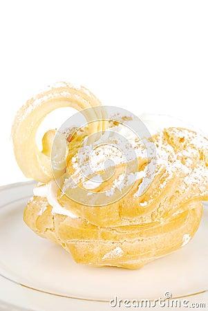Eclair swan dessert.