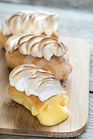 Free Eclairs With Lemon Curd And Meringue Royalty Free Stock Image - 86115476