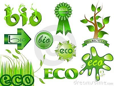 Eco and bio icons and labels set 2