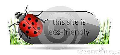 Eco button with ladybug and green grass.