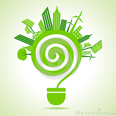 Eco cityscape with bulb