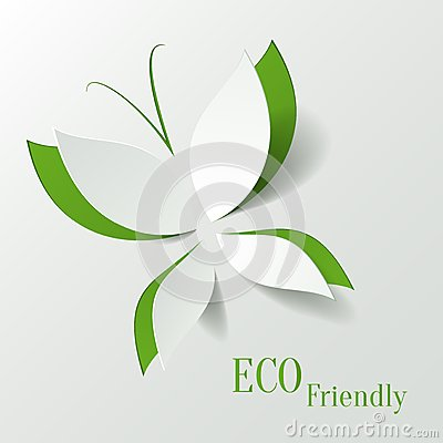 Free Eco Concept - Green Butterfly Cut The Paper Like L Royalty Free Stock Image - 30413686