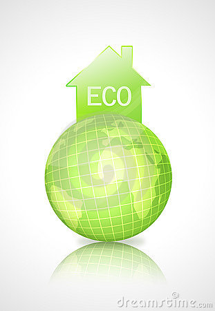Eco earth globe with green house