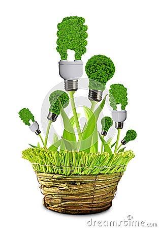 Eco energy bulbs in pot