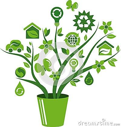 Eco energy concept icons tree - 1