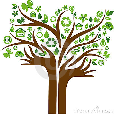 Eco energy concept icons tree with two hands