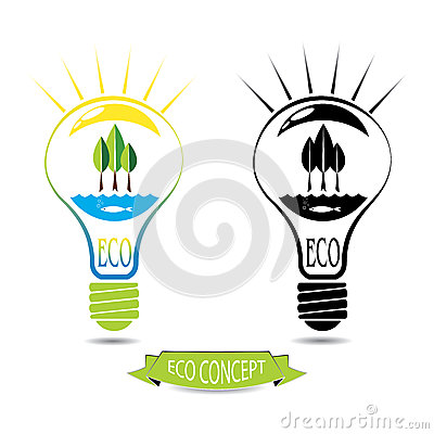 ECO energy concept, natural energy sources inside the light bulb