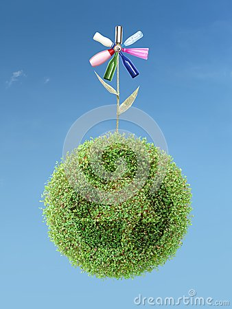 Free Eco Flower On Green Recycle Planet Stock Photo - 30048490