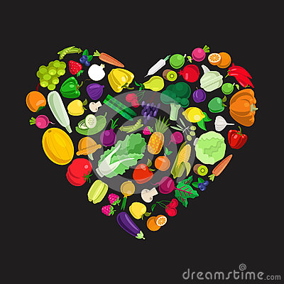 Free Eco Food Vector Flat Icons Forming Heart Shape. I Love Vegetable Stock Images - 59050774