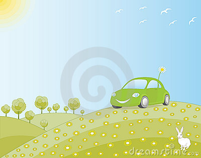 Eco-friendly car in a green field