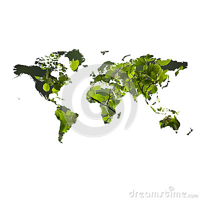 Eco friendly concept with map of the world