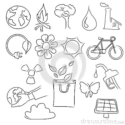 Free Eco Friendly Concept Vector Illustration, Hand Drawing Of Icon Of Bicycle, Planet Earth, Globe, Sun, Bag,flower,water Royalty Free Stock Photography - 89558757