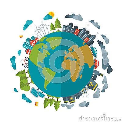 Free Eco Friendly, Green Energy Concept, Vector Flat Stock Photo - 54729430