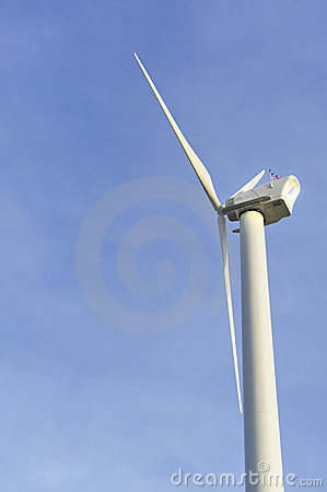 Eco-friendly white wind turbine against a blue sky