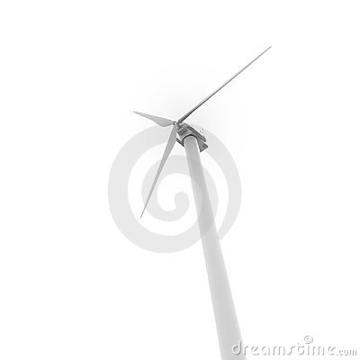 Eco-friendly wind turbine isolated on white
