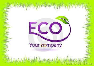 Eco grass frame isolated in white