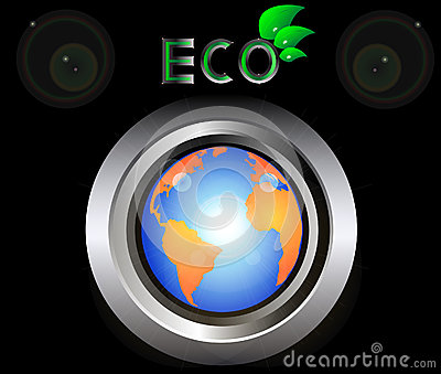 Eco Green Earth Planet on metal button black