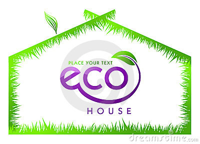 Eco green grass house isolated