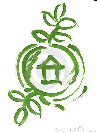 Eco green house in circle web icon sketch paint