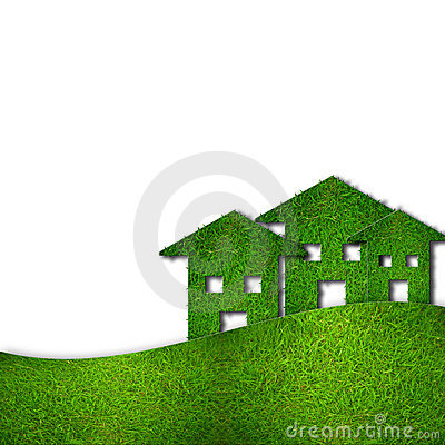 Eco green houses isolated on white