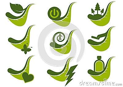 Eco green icon symbols