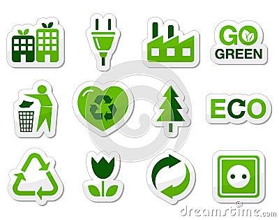 Eco green icons set