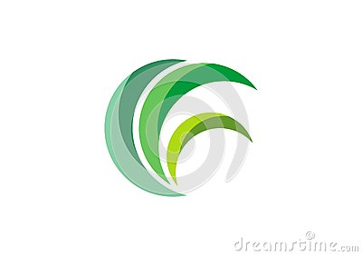 eco green logo, circle leaves grass nature plant symbol design vector Vector Illustration