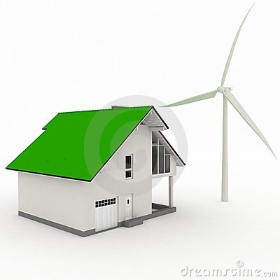 Eco house with wind turbine