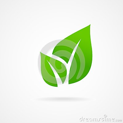 Eco icon green leaf vector Vector Illustration
