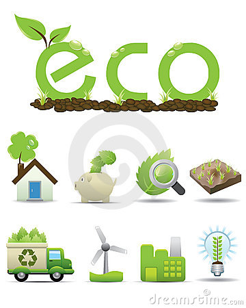 Eco Icon set -- vector green icon