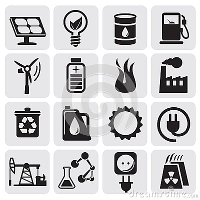 Eco icons for clean energy