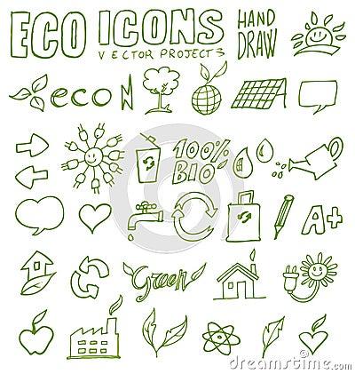 Eco icons hand draw 3