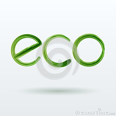 Eco Label With Shadow on White Background.
