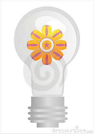 Eco lamp with flower