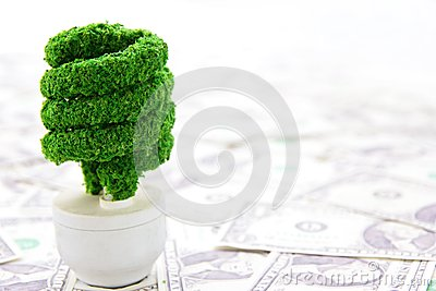 Eco light bulb with cash.