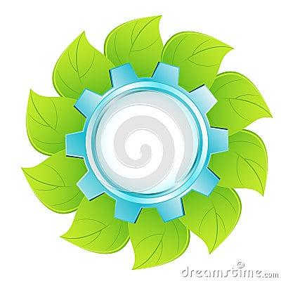 Eco logo - blue cogwheel