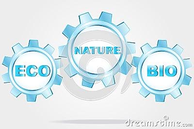 Eco logo - blue cogwheels