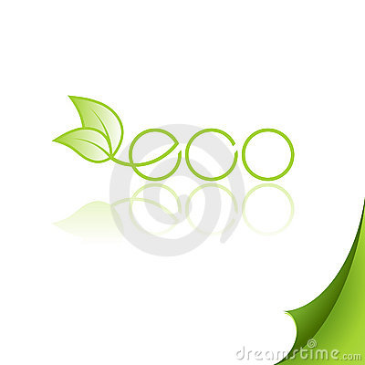 Eco logo with reflection on paper.