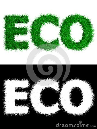 Eco made of Grass - White Background
