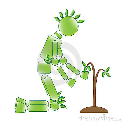 Eco Man with Sapling