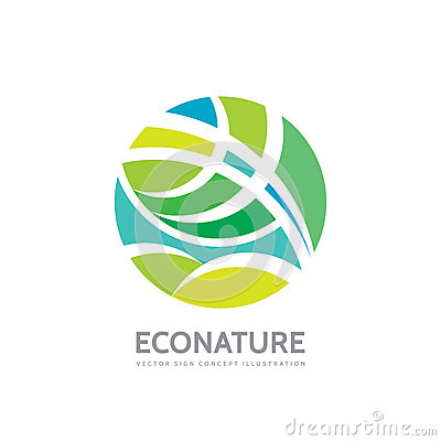 Eco nature - vector logo template concept illustration. Abstract geometric structure in circle shape. Green leaves symbol. Vector Illustration