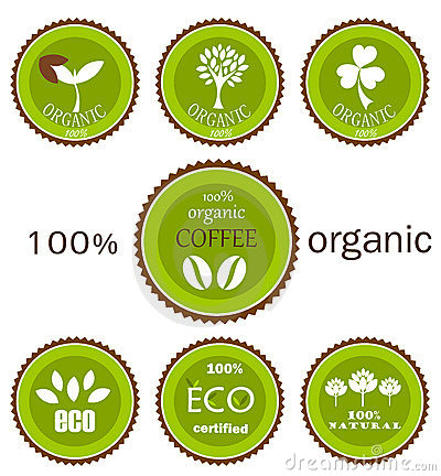 Eco organic vector labels