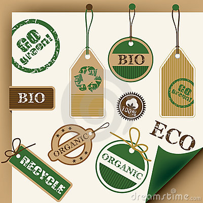 Eco, recycle, bio tags and stamps