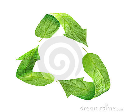 Eco recycling symbol of green leaves