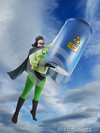 Eco superhero and hazardous waste