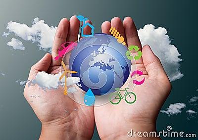 Eco symbol in hands