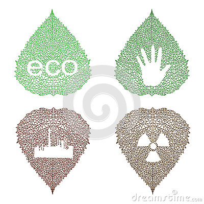 Eco symbols on openwork leaves